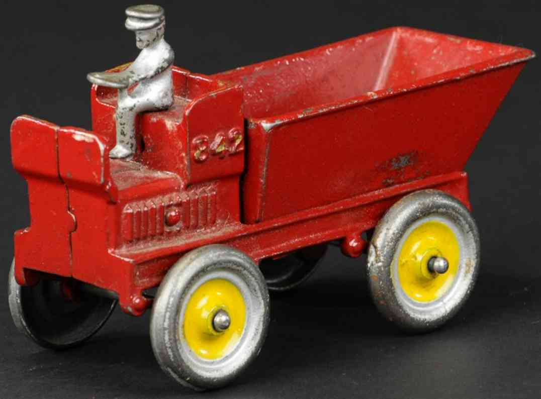 arcade cast iron toy auto dump wagon red