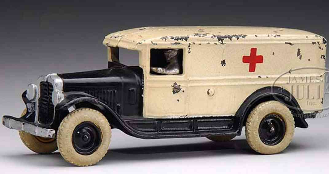 arcade cast iron toy ambulance black white