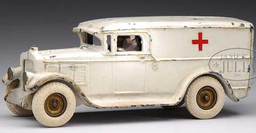 arcade cast iron toy ambulance in white