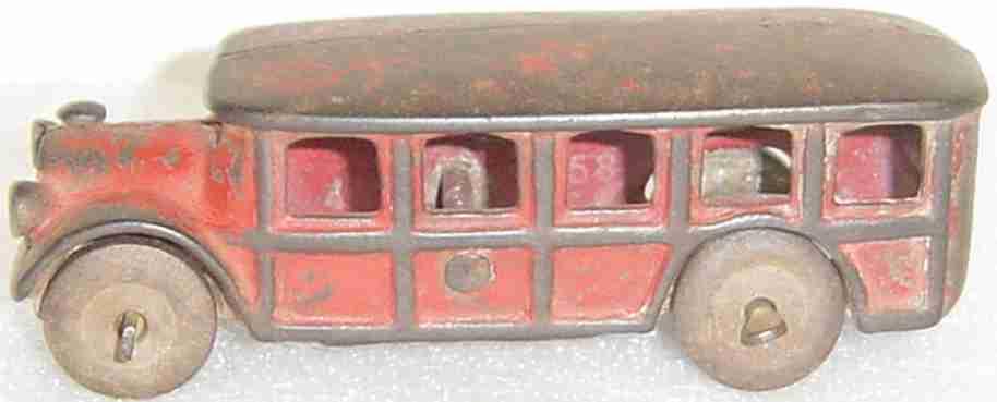 Arcade 1558 Bus aus Gusseisen in rot