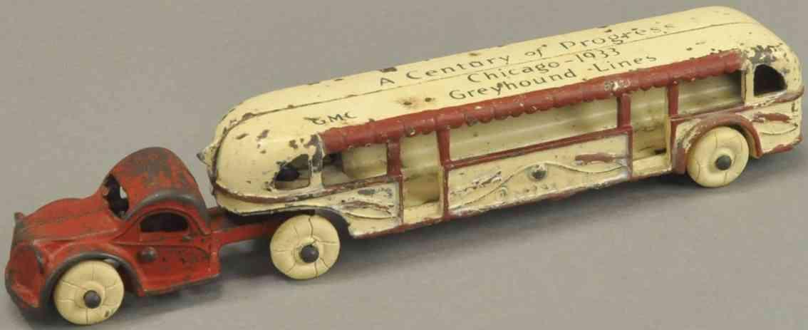 arcade spielzeug gusseisen bus century of progress rot weiss 1933