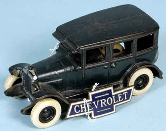 arcade cast iron toy car chevrolet sedan blue