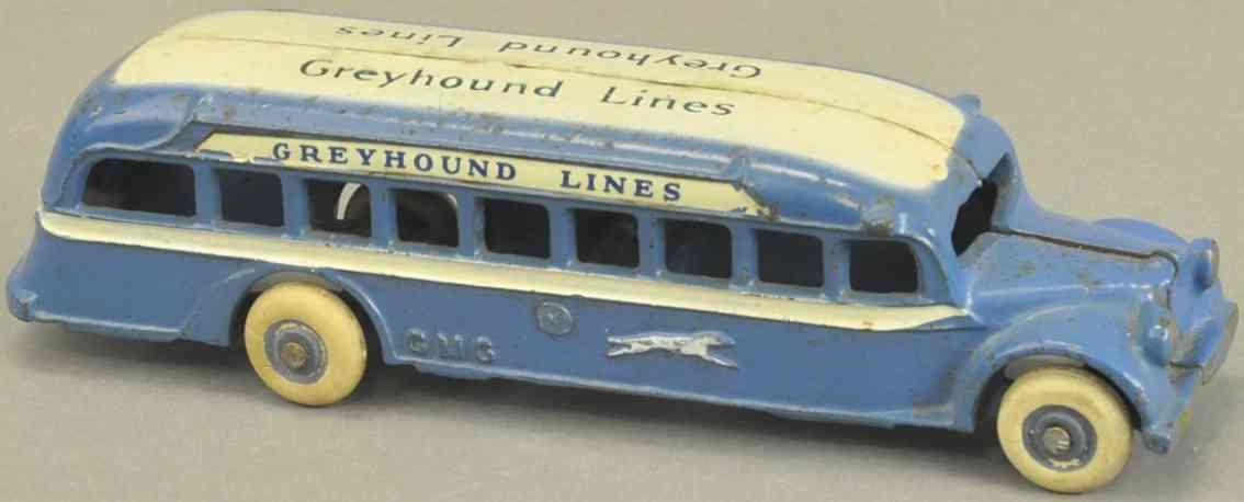 arcade spielzeug gusseisen bus gmc bus blau weiss
