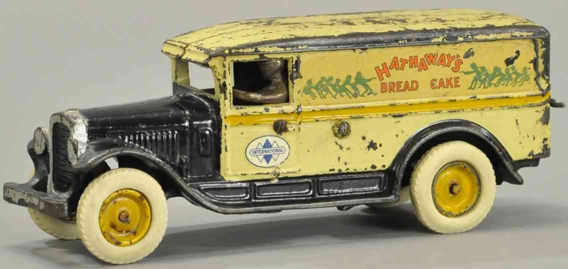 arcade spielzeug gusseisen hathaway's brotlieferwagen weiss mit etiketten