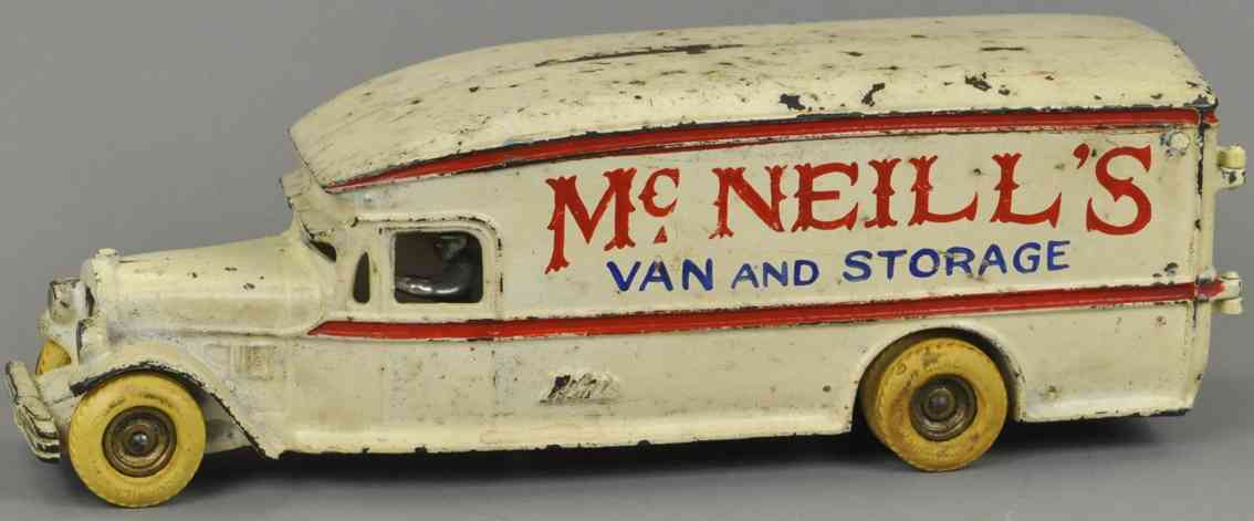 arcade cast iron toy mc neill's van and storage  moving van white