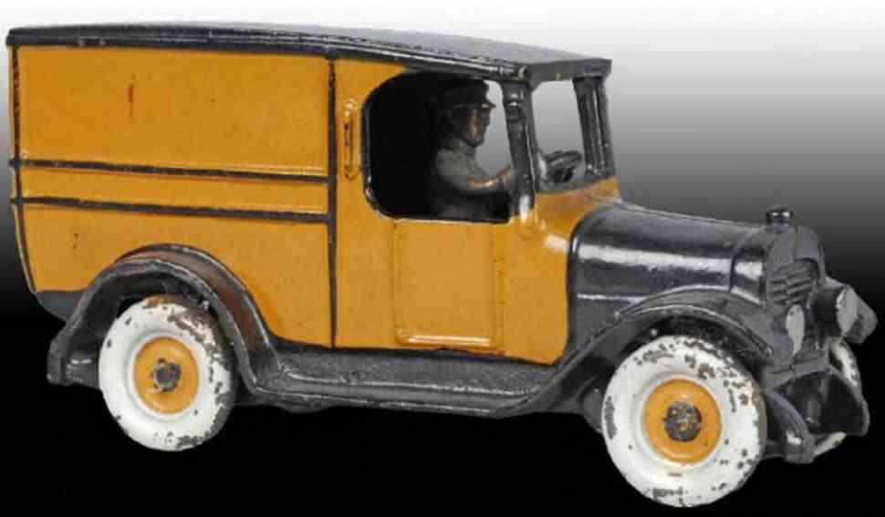 arcade 228 gusseisen gelbe lieferwagen orange schwarz fahrer