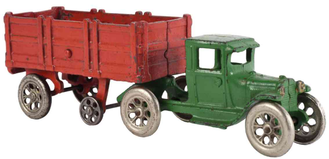 arcade cast iron toy tandem side dumps truck toy green one trailer