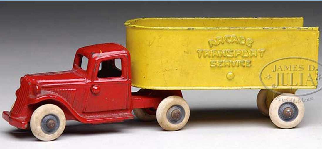 arcade transportlastwagen aus gusseisen in rot und gelb