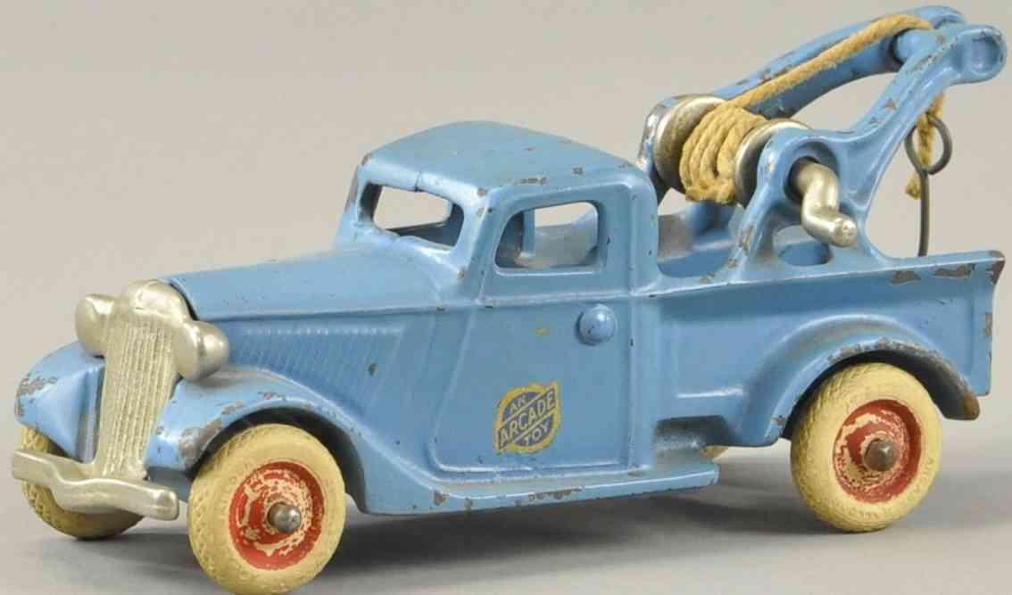arcade spielzeug gusseisen ford abschleppwagen blau