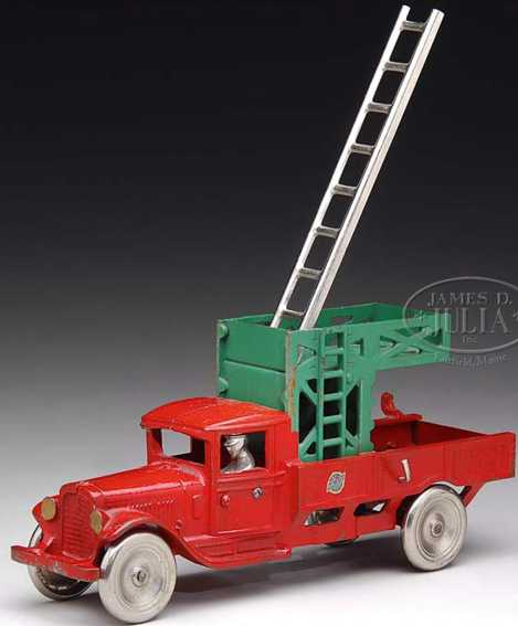 Arcade cast iron Airport utility truck toy in red and green