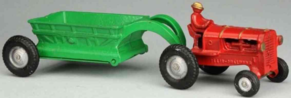arcade cast iron toy allis chalmers tractor dump trailer red green