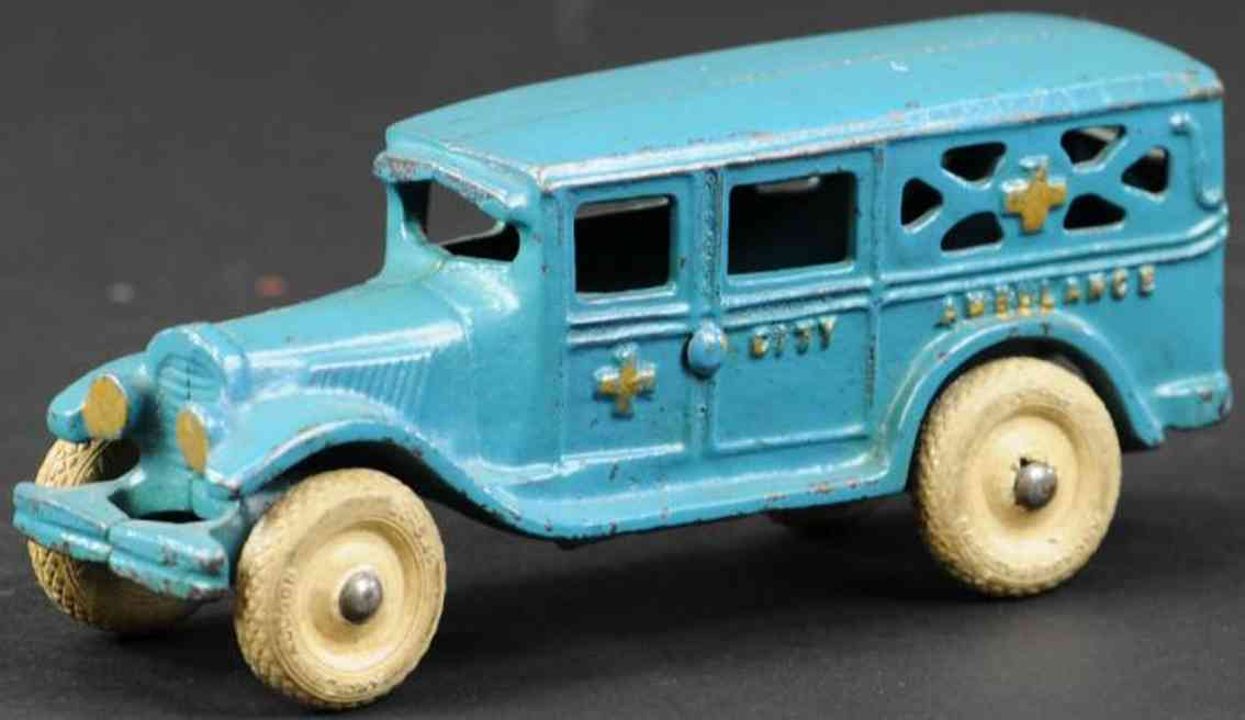 arcade cast iron toy city ambulance  blue