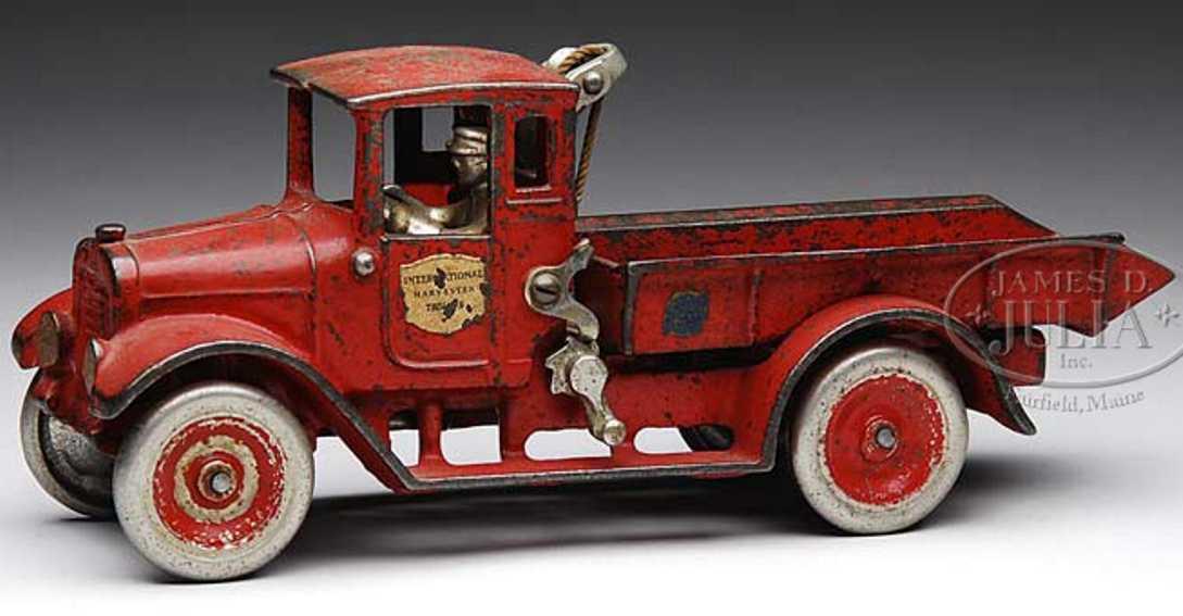 arcade spielzeug gusseisen pritschenwagen rot