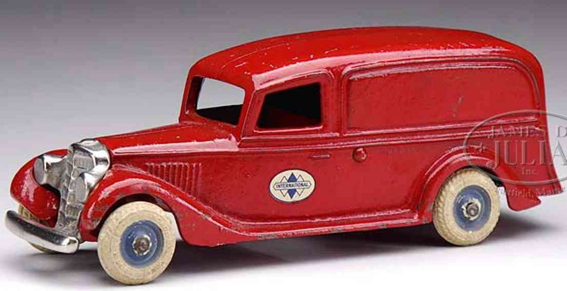 arcade cast iron toy boat tail panel truck red