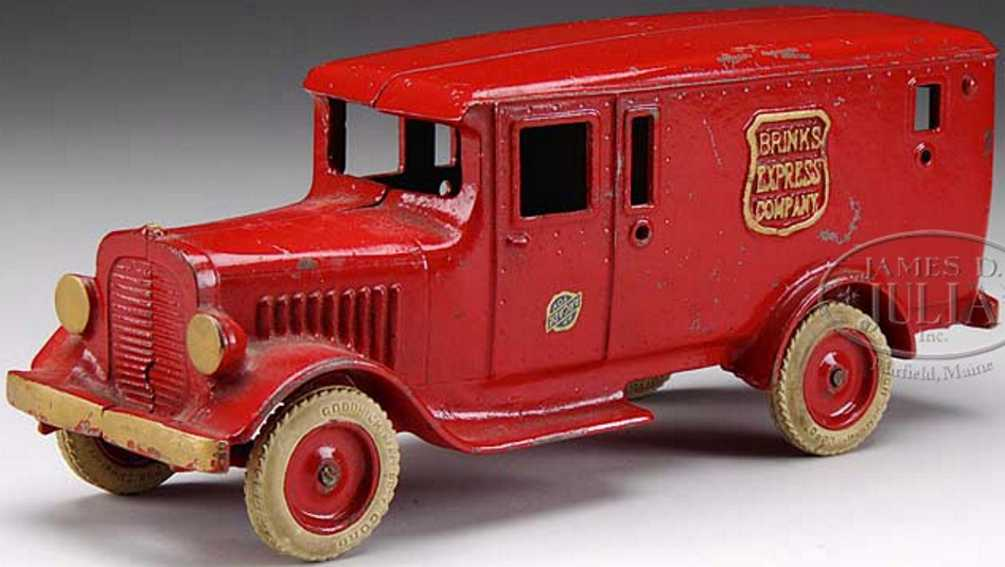 Arcade BRINKS EXPRESS CO.  Cast iron armored truck toy in red