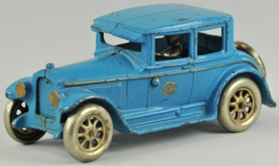 arcade cast iron toy car buick coupe blue