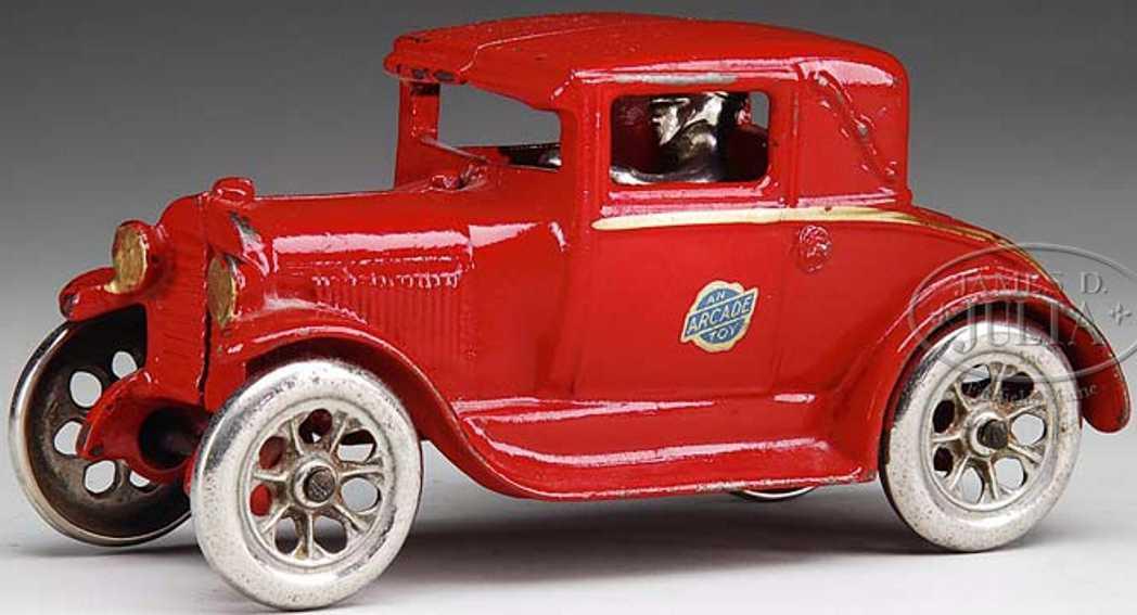 arcade spielzeug gusseisen auto cabriolet rot gold fahrer