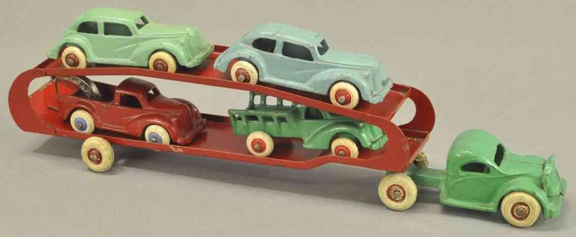arcade spielzeug gusseisen gmc autotransporter  vier autos