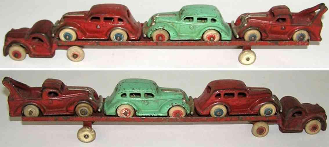 arcade spielzeug gusseisen autotransportwagen rot