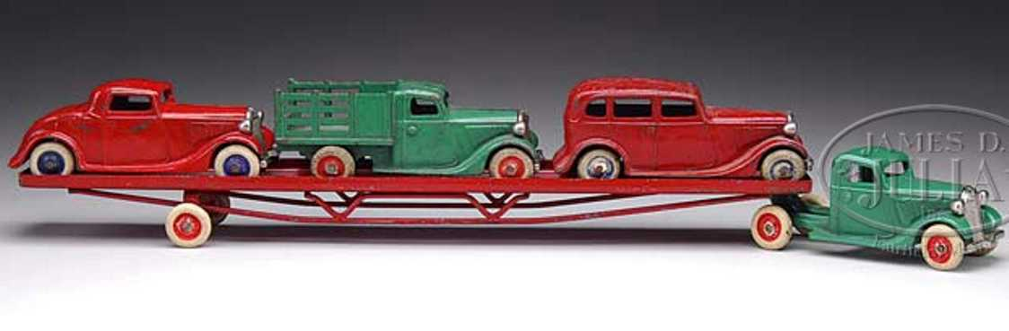 arcade cast iron toy carrier car green red
