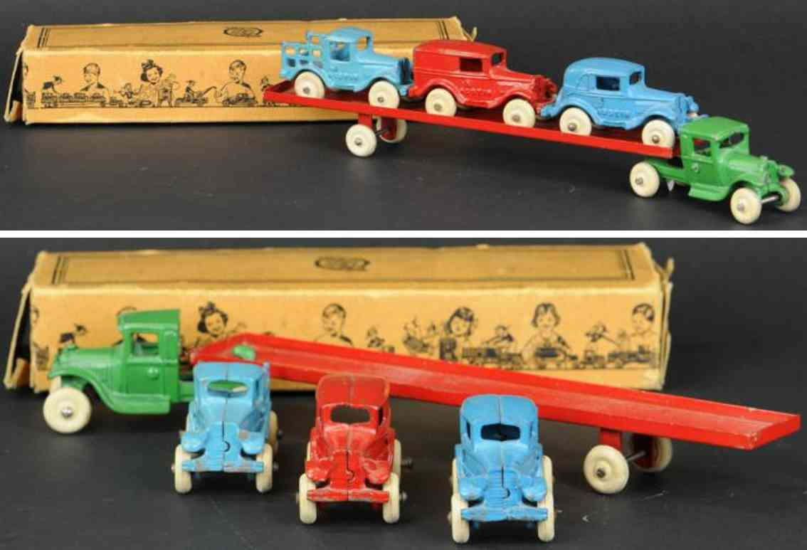 arcade spielzeug gusseisen autotransporter drei wagen