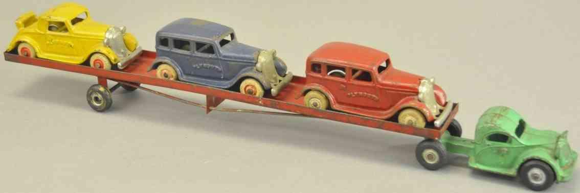 arcade spielzeug gusseisen autotransportwagen drei plymouth autos