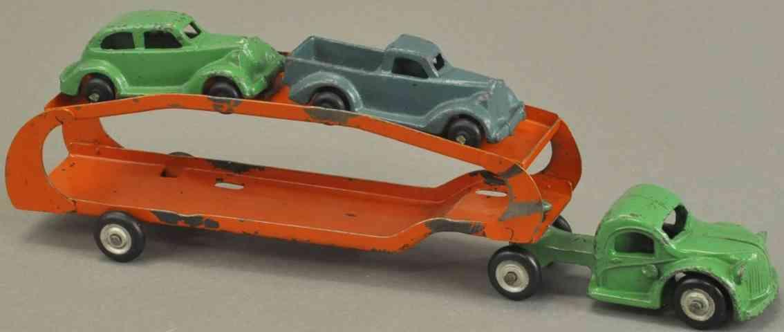 arcade spielzeug gusseisen autotransportwagen vier autos gruen orange