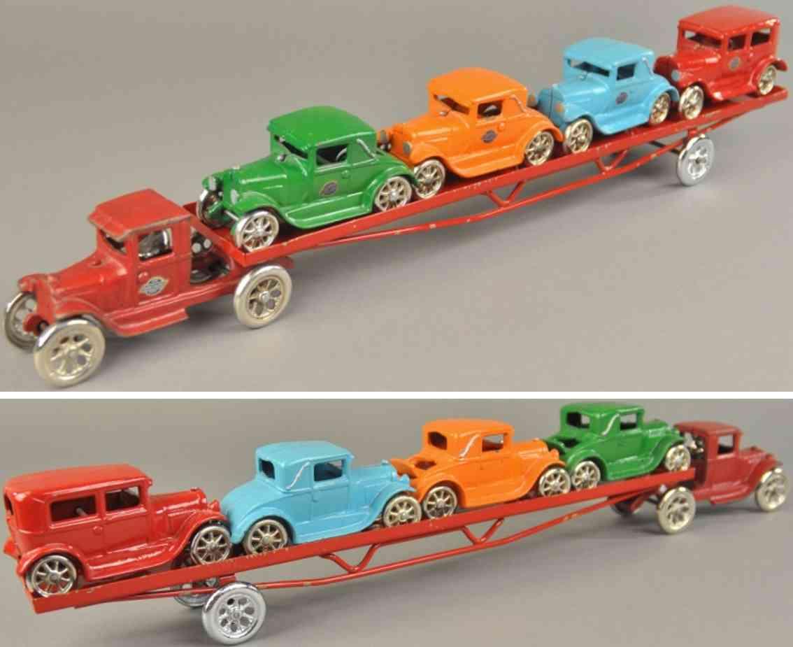 arcade spielzeug gusseisen autotransportwagen mit vier autos