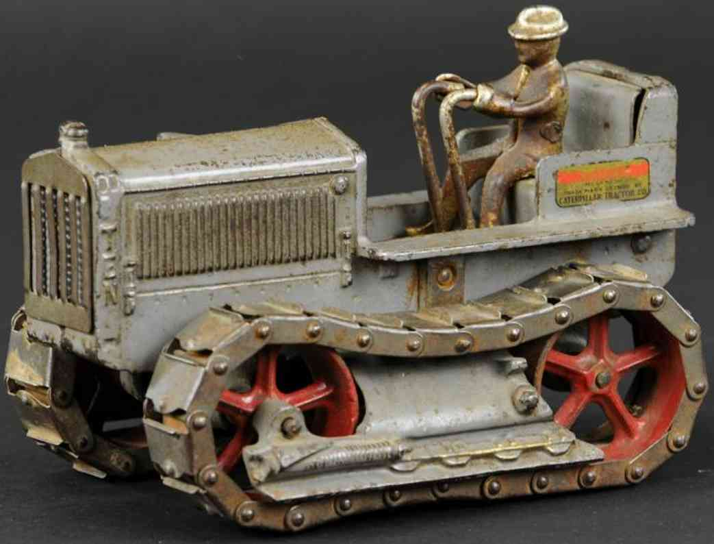 arcade 271 cast iron toy caterpillar ten tractor grey