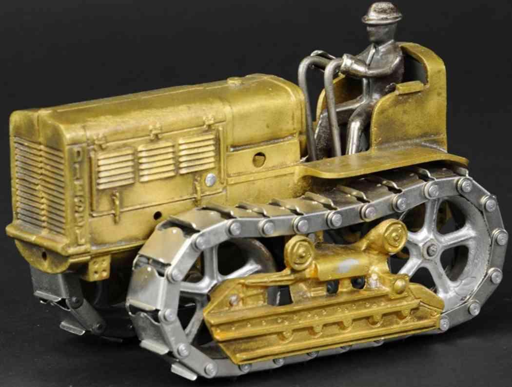 arcade cast iron toy caterpillar diesel tractor brass driver