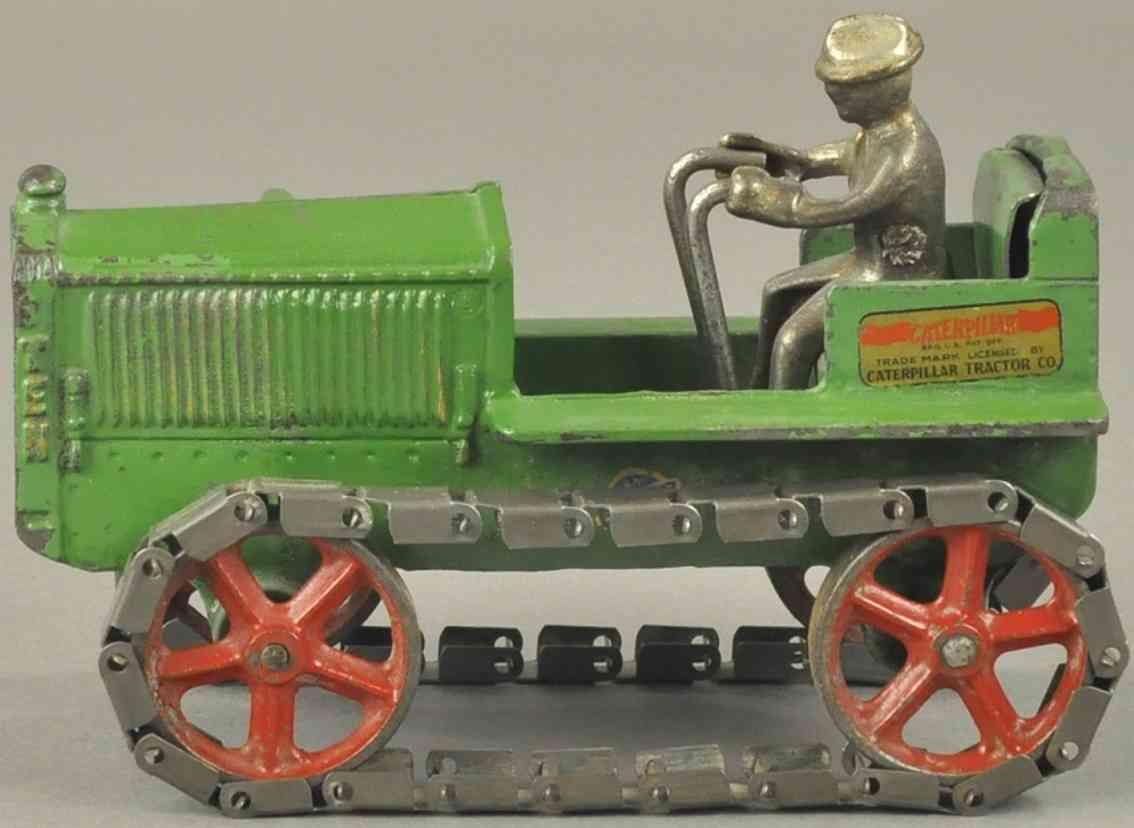 arcade caterpillar 7 green spielzeug gusseisen raupentraktor ten gruen fahrer