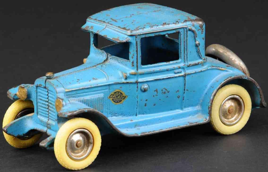 arcade cast iron toy car chevrolet double stripe coupe 1929 blue