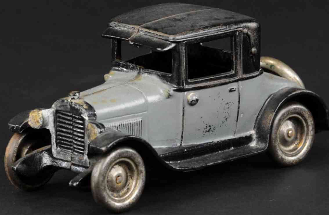 arcade cast iron toy car chevy coupe grey black