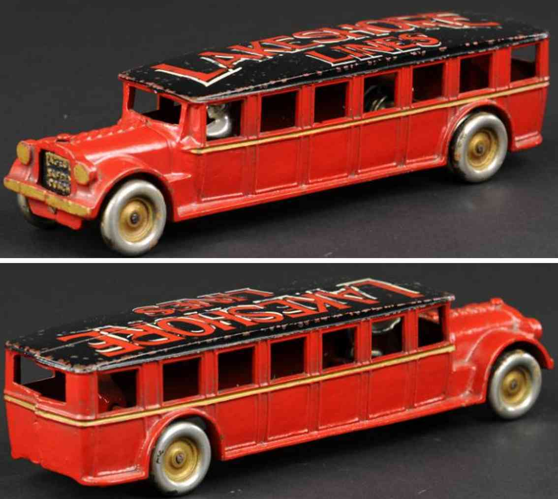 arcade cast iron toy bus coach red lakeshore lines
