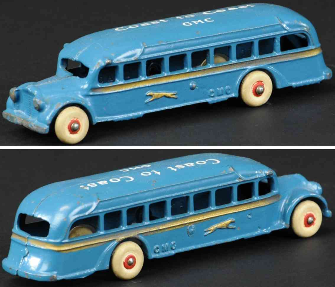 arcade gusseisen greyhound bus coast to coast gmc blau