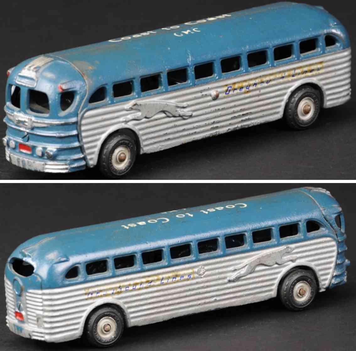 arcade spielzeug gusseisen greyhound bus  blau weiss