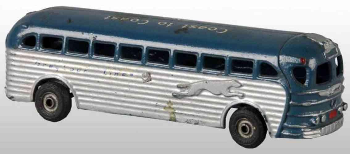arcade spielzeug gusseisen bus cost to coast gmc silbern blau