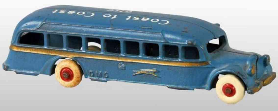 arcade cast iron toy coast to coast gmc bus blue