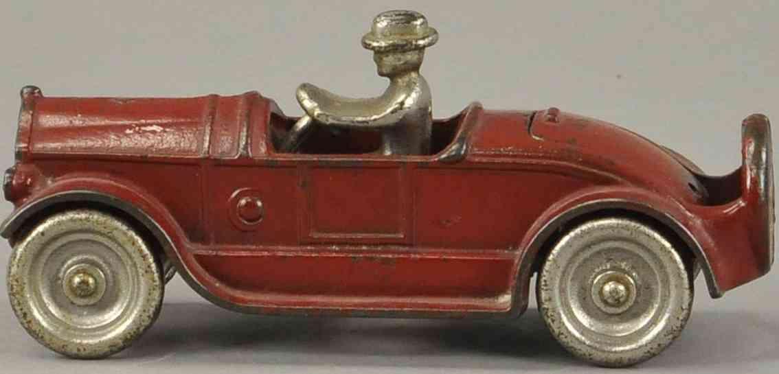 arcade spielzeug gusseisen auto coupe in rot mit notsitz fahrer