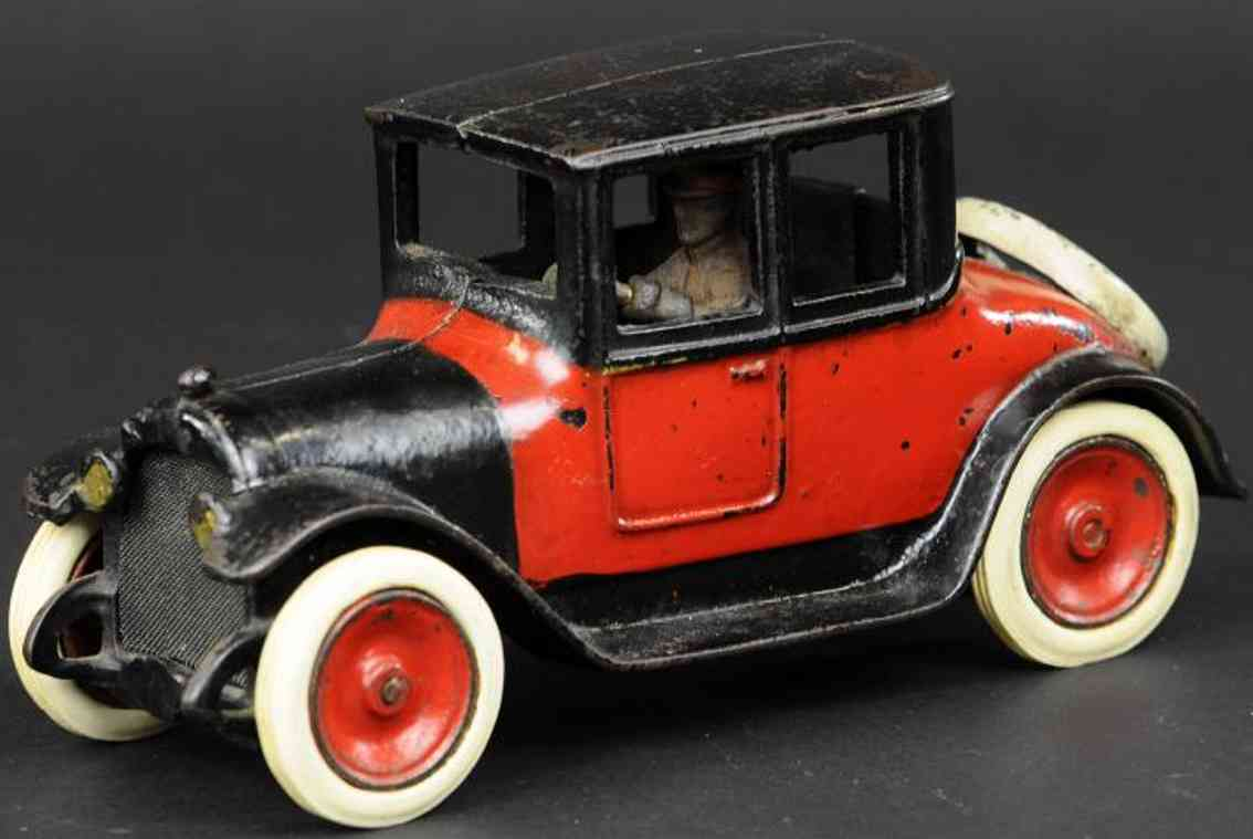 arcade cast iron toy car dodge coupe red black