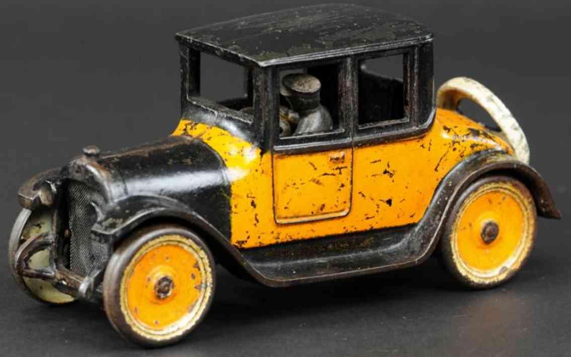 arcade cast iron toy car dodge coupe orange black 1922