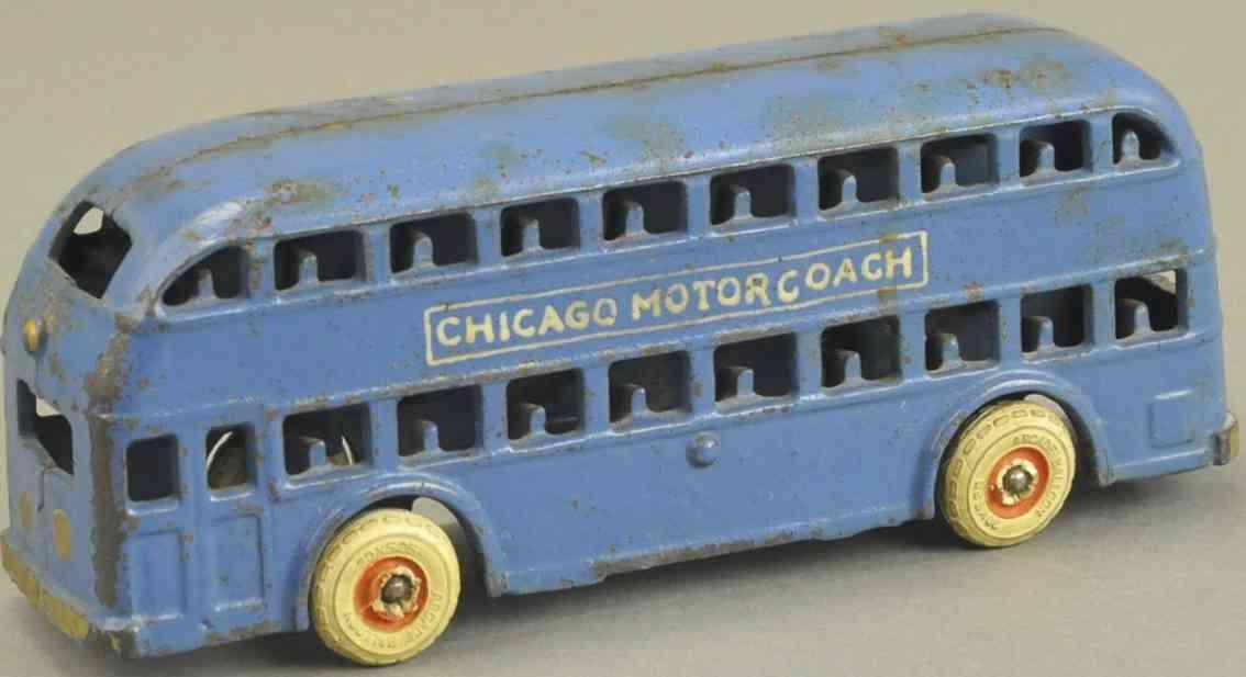 arcade spielzeug gusseisen doppeldeckerbus blau chicago motorcoach