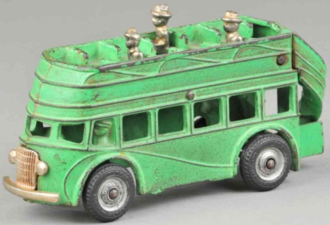arcade cast iron toy double decker bus green passengers