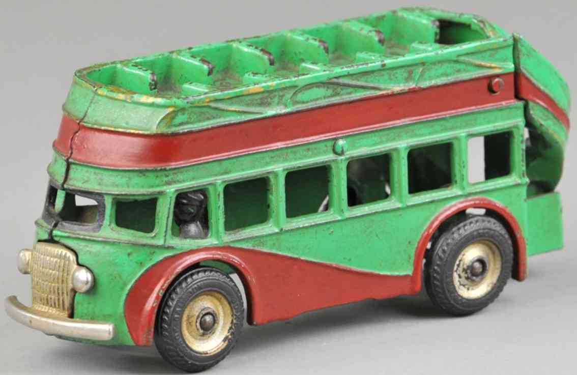 arcade cast iron toy double decker bus green red