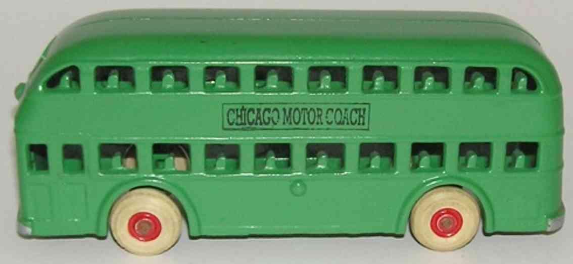 arcade cast iron toy double decker bus chicago motor coach green