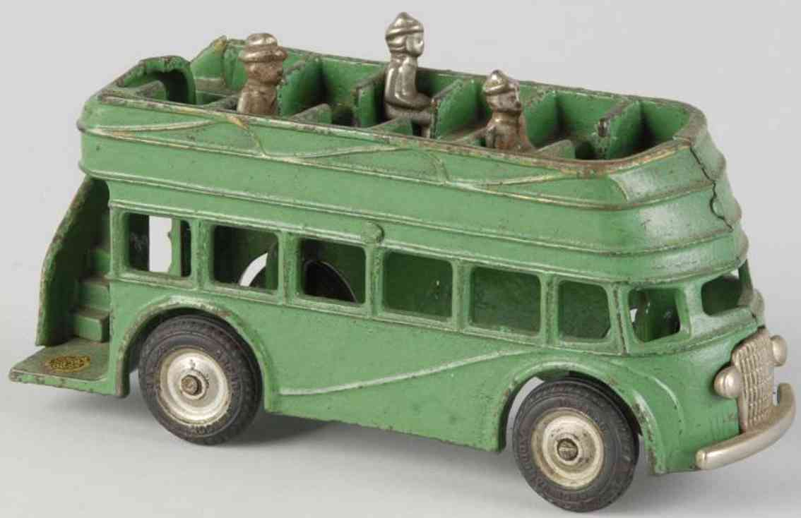arcade cast iron toy cast iron double decker bus green