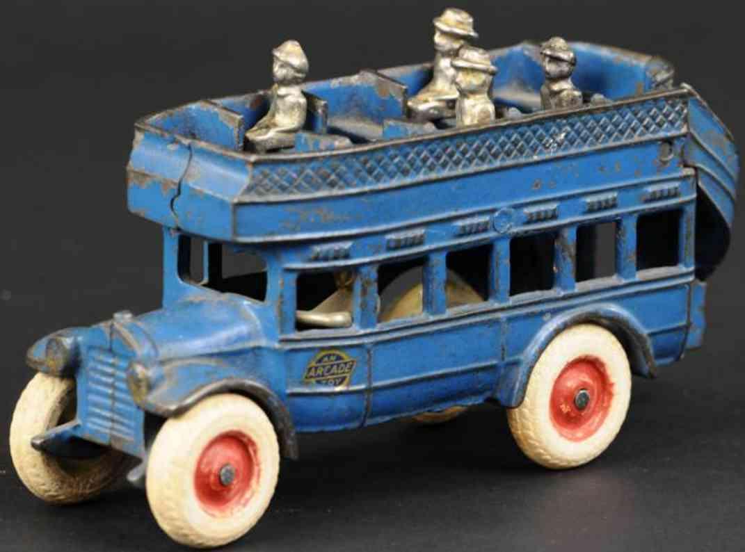 arcade spielzeug gusseisen doppeldeckerbus blau
