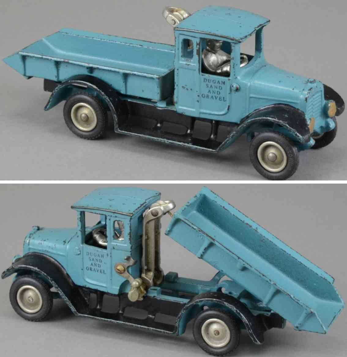 arcade spielzeug gusseisen ih kipplastwagen blau dugan sand kies