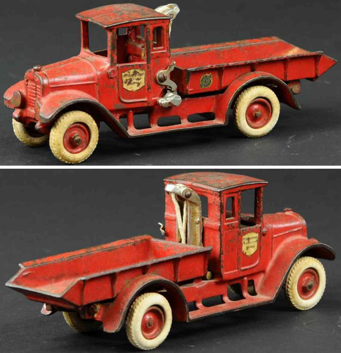 arcade cast iron toy ich baby dump truck red