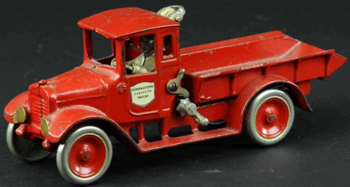 arcade cast iron toy truck ich baby dump truck red international harvester